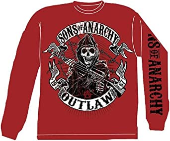Outlaw - Sons Of Anarchy Long Sleeve T-shirt, Red, Adult Large