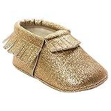Reci�n nacido beb� ni�a primavera oto�o caliente para ni�os zapatos suela suave Frenum borlas antideslizante calzado Golden Talla:0-6Months:Length 4.3