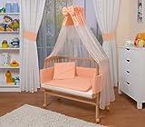 WALDIN Cuna colecho para bebé con equipamiento completo, natural sin tratamiento, 6 colores a elegir,salmón/rosa