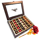 Valentine Chocholik's Belgium Chocolates - A Mesmerizing Box Of Love With 24k Red Gold Rose