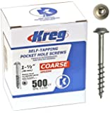 Kreg SML-C150 - 500 1 1/2-Inch Pocket Hole Screws No.8 Coarse, Washer-Head, 500 Count