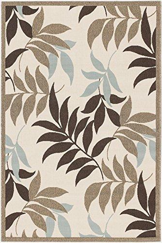 eCarpetGallery Verandah 6-Feet 7-Inch by 9-Feet 4-Inch Polypropylene Rug, Dark Brown, Ivory