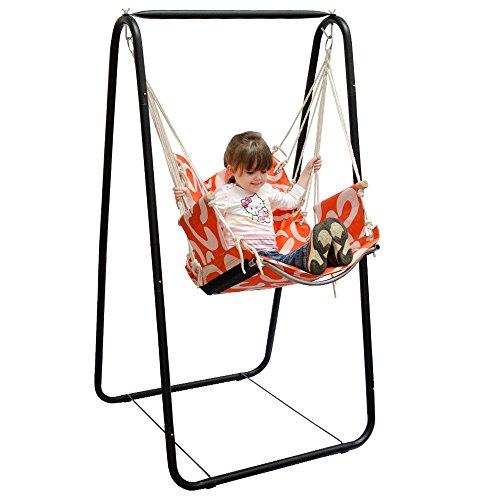 Columpio AMANKA completo silla y soporte | Marco metálico con sillón| Columpio con reposabrazos y soporte por las espaldas | Para niños y adultos | para el interior / exterior | Naranja con semicírculos