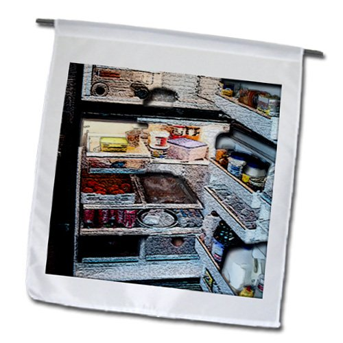 Fl_44094_1 Jos Fauxtographee Realistic - An Open Refrigerator With All The Contents Textured And Manipulated - Flags - 12 X 18 Inch Garden Flag front-388698