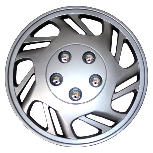 TuningPros WSC-126S15 Hubcaps Wheel Skin Cover 15-Inches Silver Set of 4 (2012 Toyota Yaris Hubcaps compare prices)
