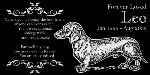Personalized Dachshund Pet Memorial 12 X6 Engraved Black