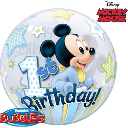 Mickey Mouse 1st Birthday, 22 inch Single Bubble Balloon