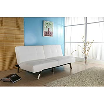 Multi-functional, Contemporary Style White Foldable Futon Sleeper Sofa Bed