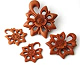 Pair Organic Flower Tribal Floral Design Sawo Wood Ear Hook Plugs Gauges