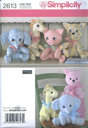 Simplicity 2613 Elaine Heigl Designs Stuffed Animals