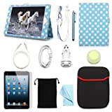 """ARION iPad mini 7.9"""" 11-Item Accessory Bundle Kit for Apple iPad mini - Folio Stand PU Leather Case Screen Protector Cleaning Cloth Stylus PenCar ChargerUSB Sync Cable Aux Cable Earphone Wire-holding Box Sleeve Case Drawstring Travel Pouch (White Polka Dot Leather case will only fit Apple iPad mini 7.9"""")"""