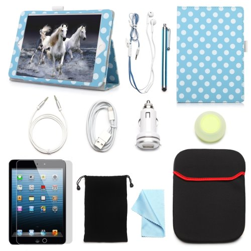"Arion Ipad Mini 7.9"" 11-Item Accessory Bundle Kit For Apple Ipad Mini - Folio Stand Pu Leather Case, Screen Protector, Cleaning Cloth, Stylus Pen,Car Charger,Usb Sync Cable, Aux Cable, Earphone, Wire-Holding Box, Sleeve Case, Drawstring Travel Pouch (Whit"