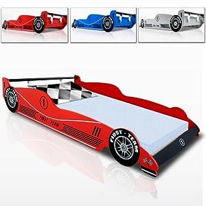 Kinderbett Rennbett rot - blau - silber - F1 Formel 1 Autobett Bett Rennwagen