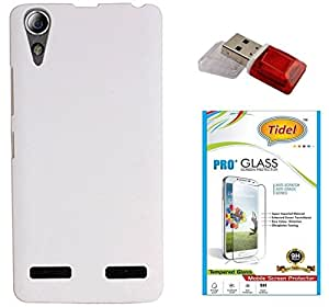 Tidel Stylish Rubberized Plastic Back Cover For Lenovo A6010 (White) With 2.5D Tempered Glass & Data Card Readar