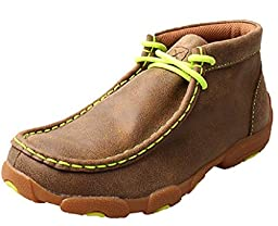 Twisted X Boys\' And Neon Yellow Leather Driving Mocs Bomber 4.5 D(M) US