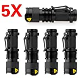 Mikafen 5 Pack Mini Cree Q5 LED Flashlight Torch 7w 350lm Adjustable Focus Zoomable Light (Black)