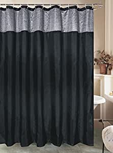Miramar Glitter Fabric Shower Curtain Black With Silver Sequins