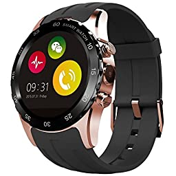 Evershop® IPS Round Touch Screen Bluetooth Smart Watch Phone with SIM Card Slot and NFC Heart Rate Monitor Wrist Watch for IOS Apple iPhone, Android Samsung HTC Sony LG Smartphones(Black-golden)