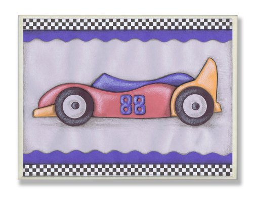 The Kids Room by Stupell #88 Red Race Car Oversized Rectangle Wall Plaque