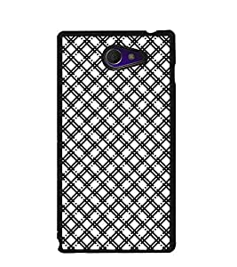 Fuson Premium Black Cross Pattern Metal Printed with Hard Plastic Back Case Cover for Sony Xperia M2