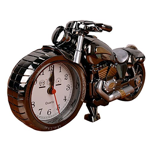 GoldMice Motorcycle Shape Alarm Clock, Luxury Retro Style Desk Décor Clock Dirt Bike Model for Household Shelf Decorations, Excellent Christmas Gift for Kids (Gray with Gold)