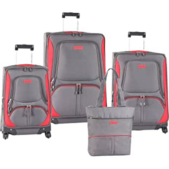 Nautica Luggage Downhaul 4 Pc Set, Gray/red, One Size