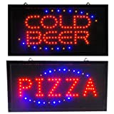 Cold Beer &#038; Pizza LED Animated Sports Bar Pub Sign Light Display Open Drink Neon