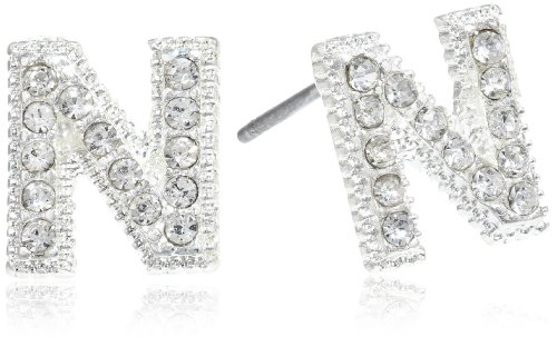 Silver Initial N Earrings