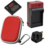 EZOPower Battery + Travel Charger with EU / Car Adapter + UK Plug + Red Compact Case for Canon IXUS 255 HS, IXUS 230 HS, IXUS 220 HS, IXUS 115 HS, IXUS 130, IXUS 120 IS, IXUS 100 IS Digital Camera
