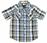 Hurley Boys S/S Plaid Printed True Navy Button-Down Shirt