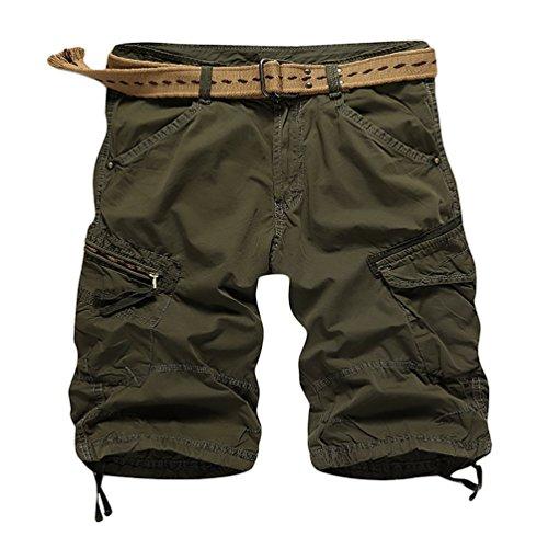 CeRui Pantaloncini corti Bermuda Cargo Short con Tasconi Laterali Uomo Taglia 31 Army Green