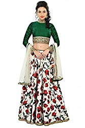 Silk Net and Bhagalpuri Party Wear Lehenga Choli in Green and Off White Colour