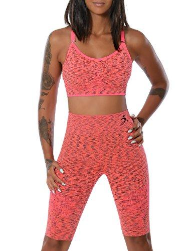 Damen-Yoga-Sport-Set-Fitness-Push-Up-BH-mit-Hot-Pants-weitere-Farben-No-14030-FarbeLachsGreL-XL