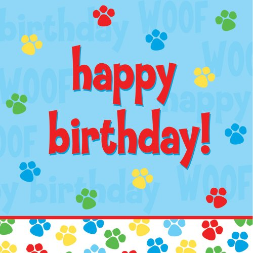 Creative Converting Paw-Ty Time Happy Birthday Luncheon Napkins, 18-Count front-535398