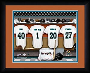 MLB Personalized Locker Room Print Black Frame Customized Miami Marlins 13 X 16 by You