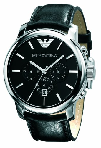 Emporio Armani Gents Stainless Steel Chronograph Watch with Black Leather Strap