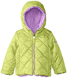 Pacific Trail   Kids Baby Girls\' Quilted Jacket Reversible To Berber, Lime Shock, 24 Months
