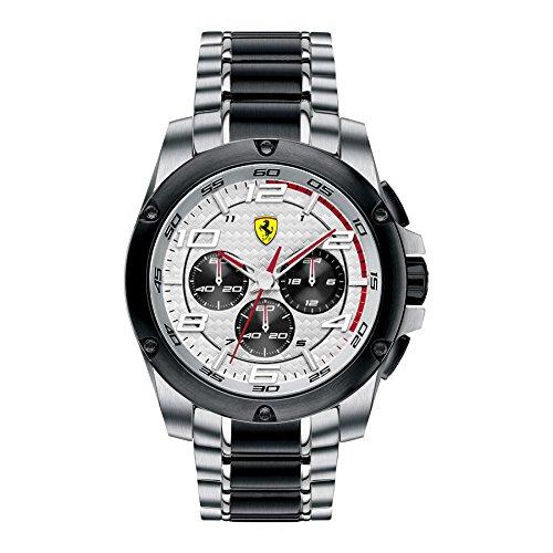 Ferrari  0 - Reloj de cuarzo para hombre, con correa de acero inoxidable, color bicolor