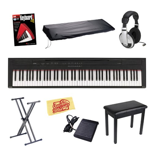 Lowest Price! Yamaha P105B 88-Key Digital Piano Bundle with Bench, Stand, Dust Cover, Sustain Pedal,...