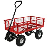 Sunnydaze Utility Cart with Removable Folding Sides, Red, 34 Inches Long x 18 Inches Wide, 400 Pound Weight Capacity