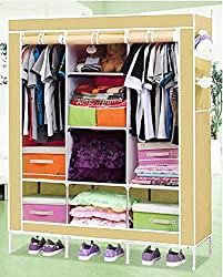 Everything Imported 4.1 feet (beige) Folding Wardrobe Cupboard Almirah Foldable Storage Rack Collapsible Cabinet