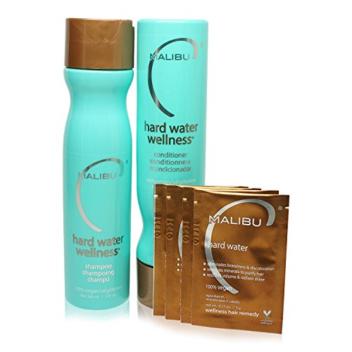Malibu Hard Water Wellness Treatment Kit, 9 oz Shampoo, 9 oz Conditioner and 0.17 Hard Water Treatment, Package May Vary (Wellness Care Package compare prices)