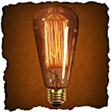 60 Watt - Vintage Antique Light Bulb - Edison Style - 4.75 in. Length - Squirrel Cage Filament - Multiple Supports - Medium Tint