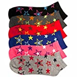 Colorful Star Printed Girls Assorted 6 Pack Ankle Socks