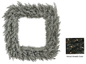 "30"" Black Fir Artificial Christmas Square Wreath - Clear Lights"