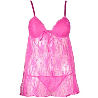 Sexy Floral Mesh Lace Padded Cup Nightwear Sleepwear Babydoll Nighty Nightdress , perfect gift for your lover * UK 4 6 8 10 12 14 16 18 * [ hot pink ]