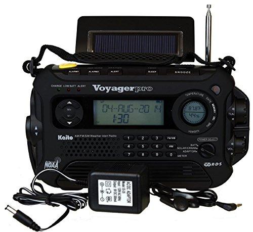 KA600 BLACK Solar/Crank AM/FM/SW NOAA Weather Radio, BONUS AC adapter/charger, Bonus Reel Antenna, 5-LED reading lamp, 3-LED flashlight (Ac Adapter For Radio compare prices)