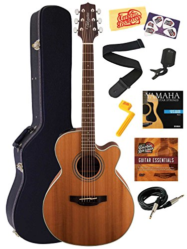 Takamine Gn20Ce Nex Cutaway Acoustic-Electric Guitar Bundle With Hard Case, Instrument Cable, Strings, Tuner, Strap, Stringwinder, Picks, Instructional Dvd, And Polishing Cloth - Natural