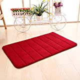 Kaimao Memory Foam Bathroom Bath Mat / Shower Mat Carpet Water Absorbent Non Slip Mat 40 x 60cm,Wine red color