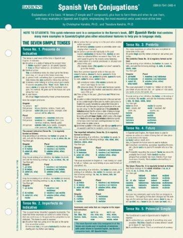 Spanish Verbs Conjugation Card (501 Verbs)